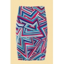 Creative Womens 3D Skirt Abstract Zig-Zag Pattern Zippered Slit-Back Midi Pencil Skirt