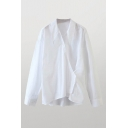White Chic Solid Color Button Detail Point Collar Long Sleeve Relaxed Fit Shirt for Women