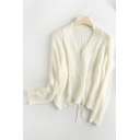 Pretty Ladies Solid Color Cable Knit Long Sleeve V-neck Regular Fit Pullover Sweater Top