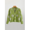Pop Womens All over Floral Print Button Up V Neck Long Sleeve Relaxed Knit Sweater Cardigan