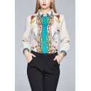 Vintage Tribal Printed Single Breasted Turn-down Collar Long Sleeve Regular Fit Shirt for Women