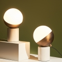 Stone Cylinder Task Light Modern Style 1-Head Gold Night Lamp with Spherical Opal Glass Shade