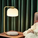 Single Bulb Bedside Table Light Simplicity Brass Nightstand Lamp with Dome Ribbed Glass Shade