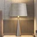 Barrel Desk Lighting Contemporary Fabric 1 Light Silver Night Table Lamp with Pointed Conic Base