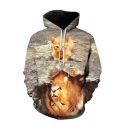 Mens Fashion 3D Hoodie Animal Cat Lion Reflection Pattern Drawstring Long Sleeve Regular Fitted Hooded Sweatshirt with Pocket
