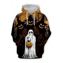 Chic Mens 3D Hooded Sweatshirt Skull Pumpkin Ghost Branches Pattern Drawstring Full Sleeve Fitted Hoodie with Pocket