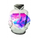 Unique Mens Hoodie Paint Splatter Water Moon Cloud Sky Mountain Abstract 3D Pattern Drawstring Long Sleeve Regular Fitted Hoodie with Pocket