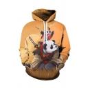 Mens Leisure Hoodie Panda Grass Dragonfly Sword Cloud 3D Print Pocket Drawstring Fitted Long Sleeve Hoodie in Yellow