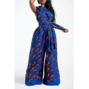 Womens 3D Jumpsuits Creative Feather Pattern Convertible Full Length Loose Fitted Wide Leg Jumpsuits