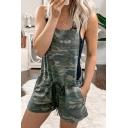 Womens Overalls Shorts Fashionable Camouflage Pocket Drawstring Waist Overalls Shorts