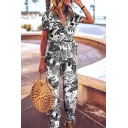 Womens Jumpsuits Stylish Leaf Pattern Tie-Waist Short Sleeve Surplice Neck Long Regular Fitted Jumpsuits