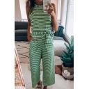 Womens Jumpsuits Simple Horizontal Striped Pattern Sleeveless Crew Neck Loose Fitted Cropped Jumpsuits