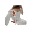 Womens Jumpsuits Trendy Lace Patchwork Bow-Tie Waist off Shoulder Regular Fitted Long Sleeve White Jumpsuits