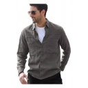 Classic Mens Shirt Solid Color Chest Pockets Cotton Linen Turn-down Collar Button-down Regular Fit Long Sleeve Shirt