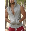 Mens Tank Top Unique Plain Two-Way Zip Closure Slim Fitted Sleeveless Hooded Tank Top