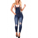 Womens Overalls Pants Fashionable Medium Wash Ripped Roll-up 7/8 Length Tapered Overalls Pants
