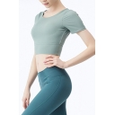 Trendy Plain Hollow Out Short Sleeve Crew Neck Slim Fit Crop Jogging T-shirt in Green