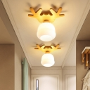 Antler/Round/Square Wood Flush Light Nordic 1-Head Beige Ceiling Mount Lamp with Ball/Bud/Trapezoid Opal Glass Shade