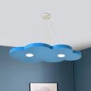 Kids LED Chandelier Lighting Fixture Yellow/Orange/Blue Cloud Hanging Lamp Kit with Metallic Shade in Warm/White Light