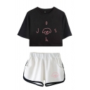 Chic Ladies Cartoon Letter J Printed Short Sleeve Round Neck Regular Fit Cropped Graphic T-Shirt & Elastic Waist Tape Contrast Trim Pockets Shorts Set