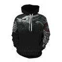 Fashionable 3D Viking Myth Digital Printed Drawstring Big Pocket Long Sleeve Loose Fit Hooded Sweatshirt