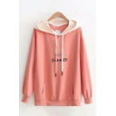 Classic Letter I Love You Summer Heart Embroidery Contrasted Long Sleeve Drawstring Pouch Pocket Relaxed Hoodie