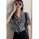 Zebra Leopard Patterned Short Sleeve Notched Collar Button Up Chest Pocket Loose Crop Stylish Shirt Top for Women