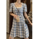 Fashionable Girls Plaid Printed Puff Sleeve Sweetheart Neck Stringy Selvedge Ruched Short A-line Dress in Blue