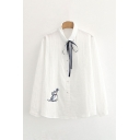 White Chic Embroidered Cat Bow Tie Front Single Breasted Peter Pan Collar Long Sleeve Regular Fit Shirt for Women
