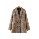 Retro Womens Houndstooth Printed Flap Pocket Lapel Collar Long Sleeve Button Closure Loose Tunic Blazer in Brown