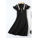 Vintage Ladise Stringy Selvedge Short Sleeve Point Collar Pearl Button Striped Knitted Mid A-line Dress