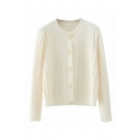 Basic Womens Solid Color Knitted Long Sleeve Crew Neck Button Up Relaxed Fit Cardigan in White