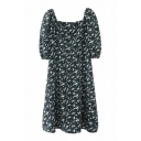 Boutique Ladies Ditsy Floral Printed Short Sleeve Square Neck Short A-line Dress in Black