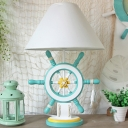 Modernist Rudder Night Light Wood Single Head Study Room Table Lamp with Flared Fabric Shade in Pink/Green