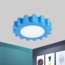 LED Nursery Ceiling Mounted Light Creative Blue/Green Flushmount Lighting with Gear Acrylic Shade