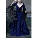 Vintage Ladies Plain Mesh Patched Long Sleeve Sweetheart Neck Applique Maxi A-line Flared Dress