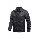 Classic Mens Jacket Solid Color Flap Pockets Button up Turn-down Collar Long Sleeve Regular Fit Leather Jacket