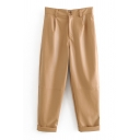 Dainty Pants Pants Solid Color Faux Leather Zip Closure Full Length Button Detail High Rise Tapered Pencil Pants for Women