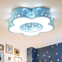 Nordic Flower Ceiling Fixture Acrylic LED Nursery Flush Mount Light with Star and Moon Pattern in Pink/Blue