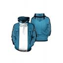 Popular Blue Glasses Stripe 3D Print Contrasted Badge Long Sleeve Kangaroo Pocket Loose Hoodie