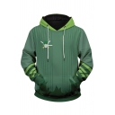 Designer Green Skull Letter Graphic Long Sleeve Striped Pouch Pocket Loose Fit Hoodie for Men