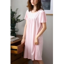 Fancy Womens Lace Patchwork Bow Front Pleated Butterfly Sleeve Crew Neck Oversized Midi Nightdress in Pink
