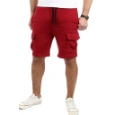 Men's New Stylish Solid Color Drawstring-Waist Flap Pocket Front Cotton Sport Sweat Shorts