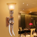 1-Light Wall Mounted Lamp Countryside Bell Frosted Glass Wall Sconce Lighting with Elephant Decor in Gold