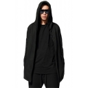 Mens Fashion Hooded Sweatshirt Solid Color Ribbed Cuff Drawstring Pockets Open Front Long-sleeved Loose Fit Hooded Sweatshirt in Black