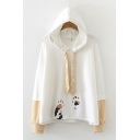 Lovely Color Block Cartoon Paw Print Drawstring Long Sleeve Relaxed Fit Hoodie for Ladies