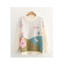 Fashion Womens Landscape Printed Round Neck Full Sleeve Relaxed Fit Knit Pullover Sweater Top