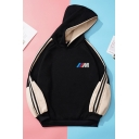 Casual Color Block Letter M Print Striped Side Tape Long Sleeve Relaxed Fit Hooded Sweatshirt