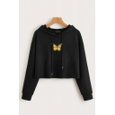 Ladies Fashionable Butterfly Print Drawstring Long Sleeve Relaxed Fit Crop Hooded Sweatshirt