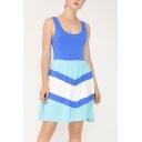 Blue Casual Chevron Printed Color Block Backless U-Shaped Collar Sleeveless Mini A-Line Tank Dress for Women